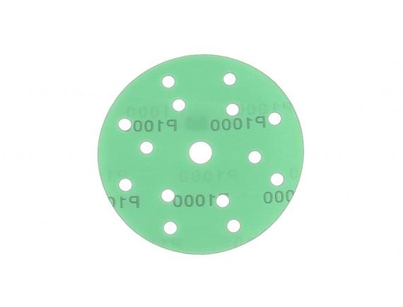 """กระดาษทรายกลมหนามเตย 6""""x15รู สีเขียว #1000"""