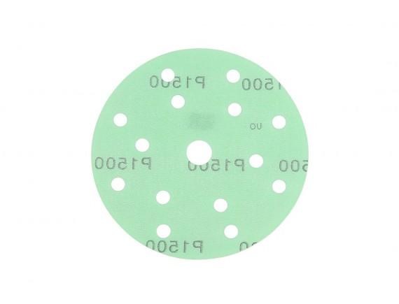 """กระดาษทรายกลมหนามเตย 6""""x15รู สีเขียว #1500"""