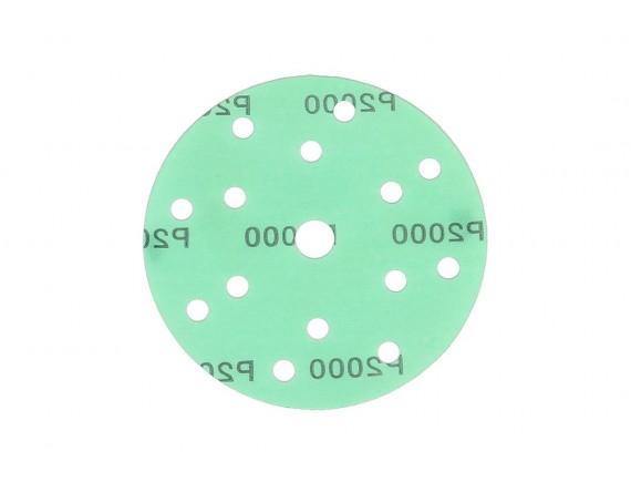 """กระดาษทรายกลมหนามเตย 6""""x15รู สีเขียว #2000"""