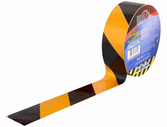 เทปตีเส้น สีเหลือง-ดำ 50mm x 50m YAMADA