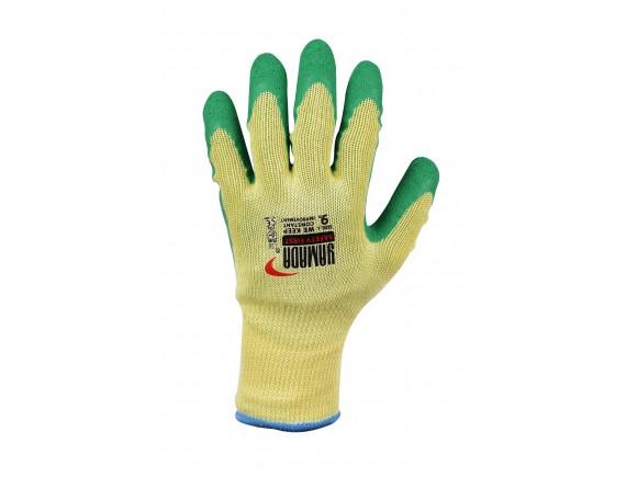 """ถุงมือคอตตอนเคลือบยางธรรมชาติสีเขียว 9"""" รุ่น 9042 YAMADA"""