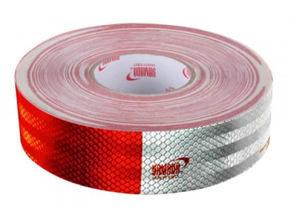 สติ๊กเกอร์สะท้อนแสง สีแดง-ขาว 1 ม้วน (150ชิ้น)  YAMADA